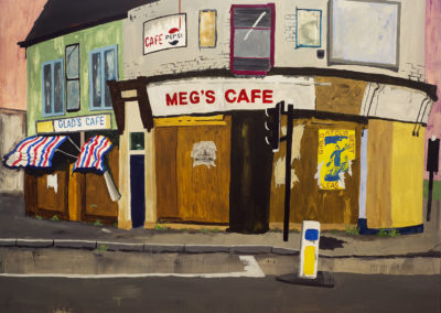 Urban decay in the 1980's. Painting of Attercliffe Road between Rotherham and Sheffield with greasy spoon cafes. Poster for post punk band 'Girls at our Best'