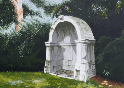 THIS PAINTING SHOWS ONE OF THE ORIGINAL PEDESTRIAN SHELTERS FROM THE OLD LONDON BRIDGE, DEMOLISHED IN 1831. Only four remain. Two in Victoria Park, Hackney, one in the grounds of Guy's Hospital with a statue of John Keats and one in Courtlands Estate, East Sheen.