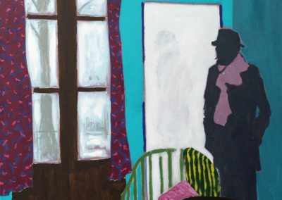 The lone figure of an artist in the studio in winter, with frosty landscape seen through the window