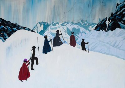 Atmospheric, winter landscape painting of Victorian travellers climbing a glacier on 'The Grand Tour across Europe