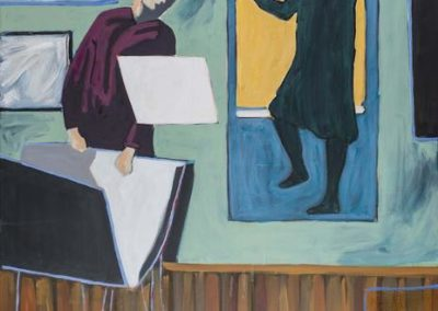 Diptych of two paintings other works of art by Velazquez 'Las Meninas', Edvard Munch's 'The Lonely Ones', Honore Daumier 'Advice to a Young Artist'. Contemporary artist Peter Doig ofter also references Daumier in his paintings.