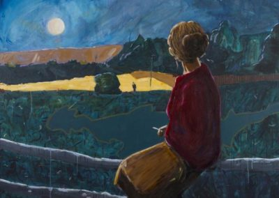 Moonlit landscape painting with strong expressionist use of colour